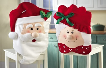 Mr & Mrs Santa Claus Christmas Dining Chair Covers Holiday